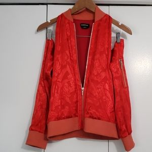Bebe sample cold shoulder silk red jacket.